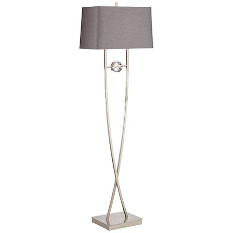 Wishbone Brushed Nickel Twist-Base Floor Lamp