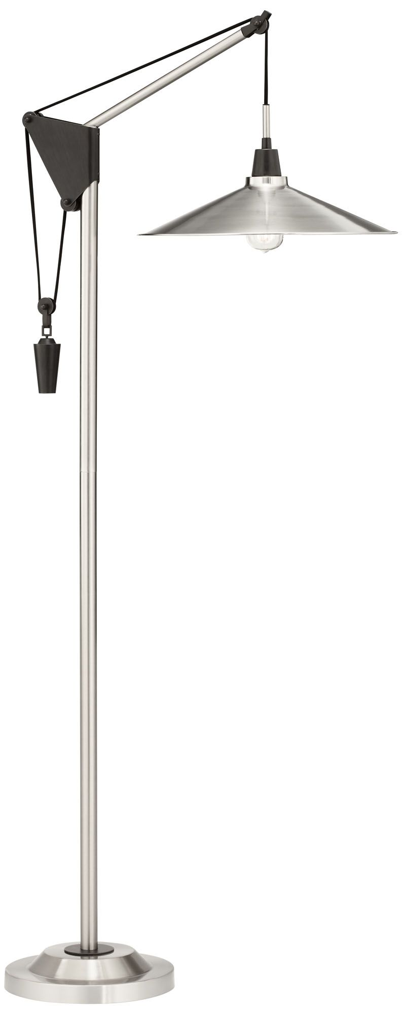 The Chronicle Brushed Nickel Adjustable Pulley Floor Lamp