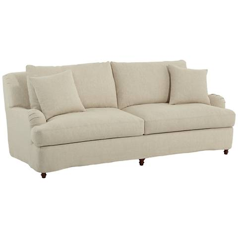 "Albion Chateau 89 1/2"" Wide 2-Over-2 Linen Sofa with Pillows"