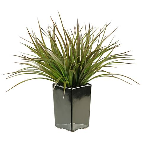 "Brown and Green Grass 15""H in Black Square Ceramic Planter"
