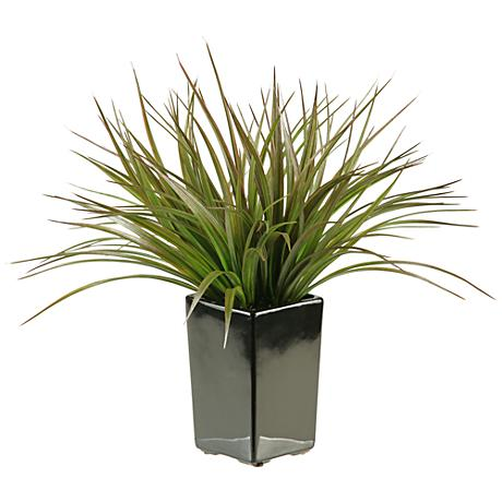 """Brown and Green Grass 15""""H in Black Square Ceramic Planter"""