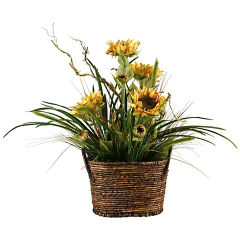 """Mixed Grass and Sunflowers 30""""H in Basket with Handles"""