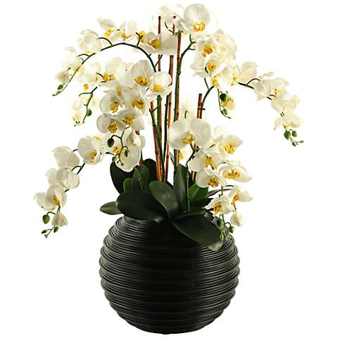 "Cream Natural Touch Phael Orchids 30 1/2""H in Ball Planter"
