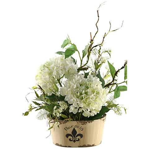 "Cream Hydrangeas 27"" High in Oblong Fleur De Lis Planter"