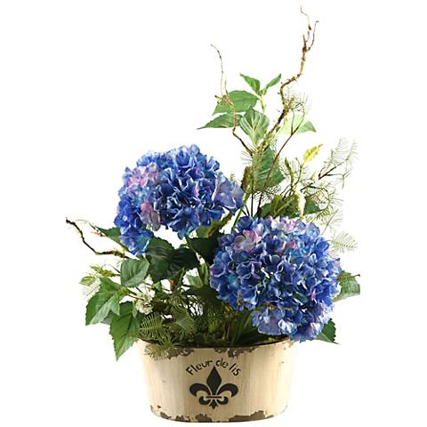 "Blue Hydrangeas 27"" High in Oblong Fleur De Lis Planter"