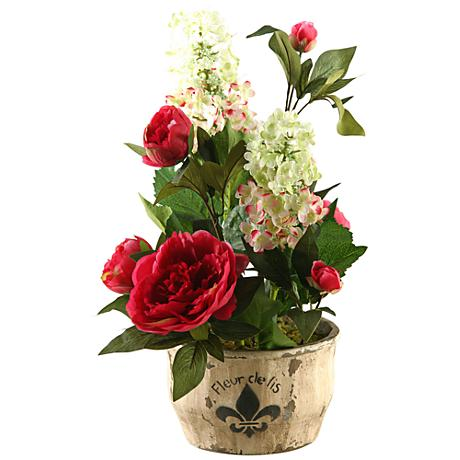 """Mixed Tree Hydrangeas and Peonies 21 1/2""""H in Planter"""
