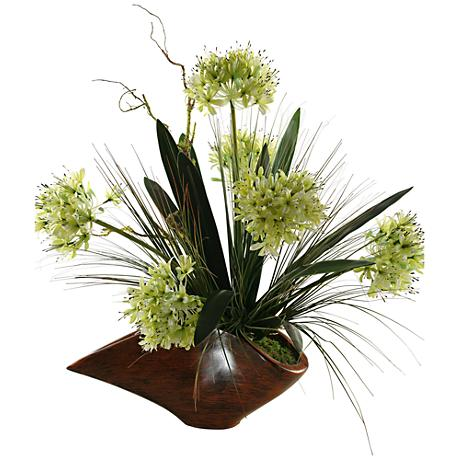 "Green Agapanthus with Foliage 26"" High in Woodtone Planter"