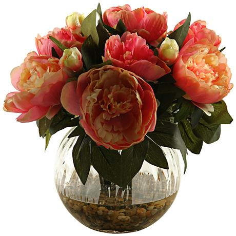 """Pink Peonies 14"""" High in Glass Ball Vase"""