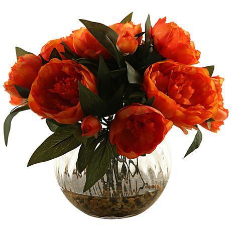 "Orange Peonies 14"" High in Glass Ball Vase"