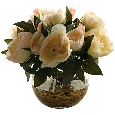 "Cream Peonies 14"" High in Glass Ball Vase"