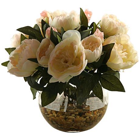 "Cream Peonies 14"" High in Glass Ball Vase"