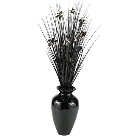 """Black Ting with Black Blossoms 56"""" H in Black Spun Bamboo Vase"""