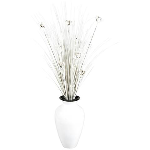 "White Ting with White Blossoms 56"" H in White Spun Bamboo Vase"