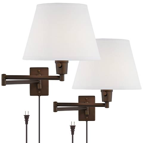clement plug in swing arm wall lamp set of 2 in bronze 1v955 lamps plus. Black Bedroom Furniture Sets. Home Design Ideas