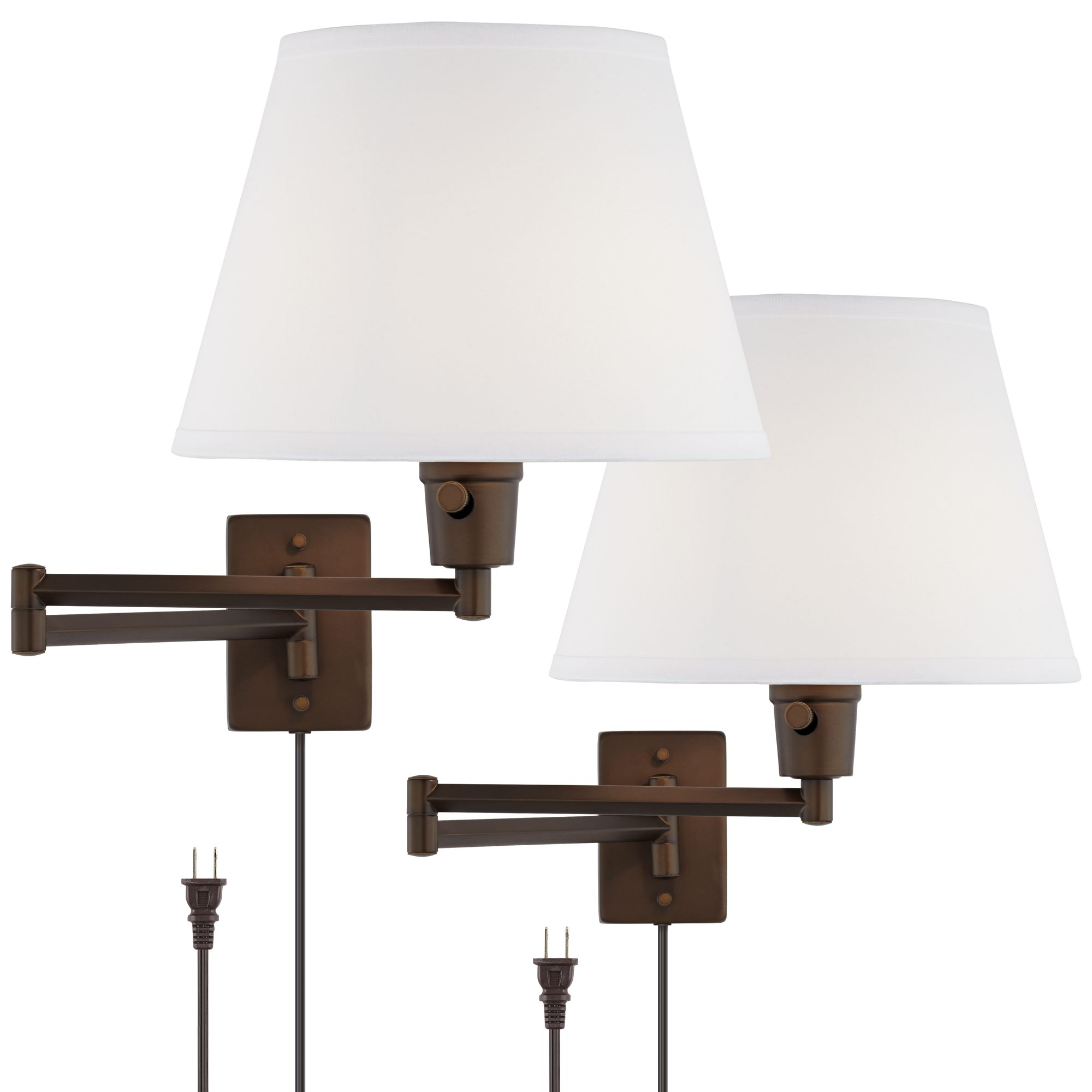 clement plugin swing arm wall lamp set of 2 in bronze 1v955 lamps plus