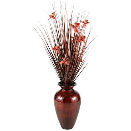 """Brown Ting with Burgundy Blossoms 56"""" H in Spun Bamboo Vase"""