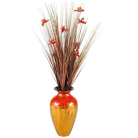 "Brown Ting 56"" High Vase with with Red Orchid Blossoms"
