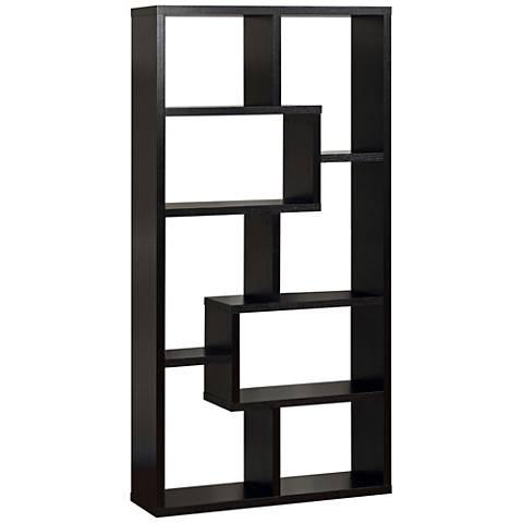Reena Black Wood Open Geometric Bookcase