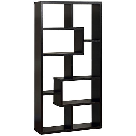 Reena Black Wood Open Geometric Bookcase
