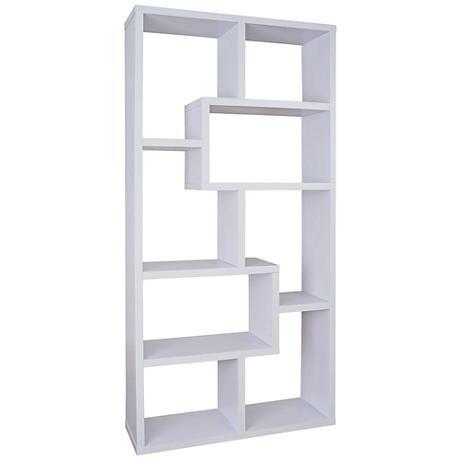 Reena White Wood Open Geometric Bookcase