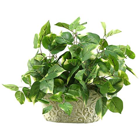 "Green Pothos 18"" Wide in Oblong Ceramic Planter"