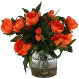 "Orange Peonies 15"" High in Ribbed Glass Vase"