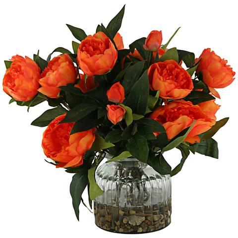 "Orange Peonies 15"" High in Ribbed Glass Vase"