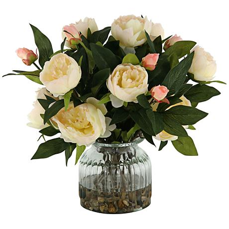 """Cream Peonies 15"""" High in Ribbed Glass Vase"""