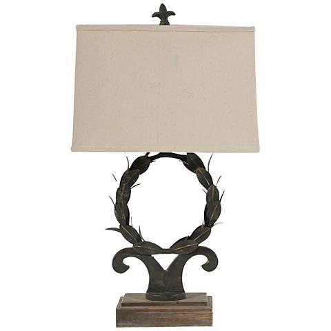 Wreath Rust Bronze Wood Table Lamp