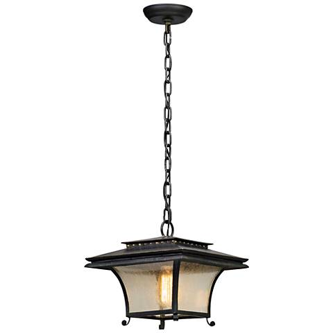 "Grammercy 10 1/2"" High Forged Iron Outdoor Hanging Light"