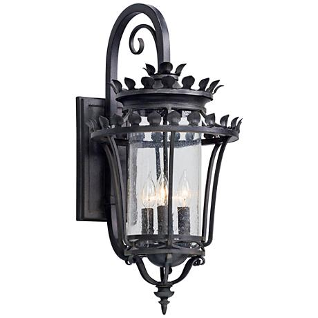 "Greystone 26 1/2"" High Forged Iron Outdoor Wall Light"