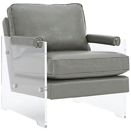 Serena Gray Eco Leather Floating Lucite Accent Chair