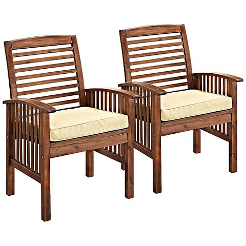 Brennan Dark Brown Patio Chairs with Cushions Set of 2