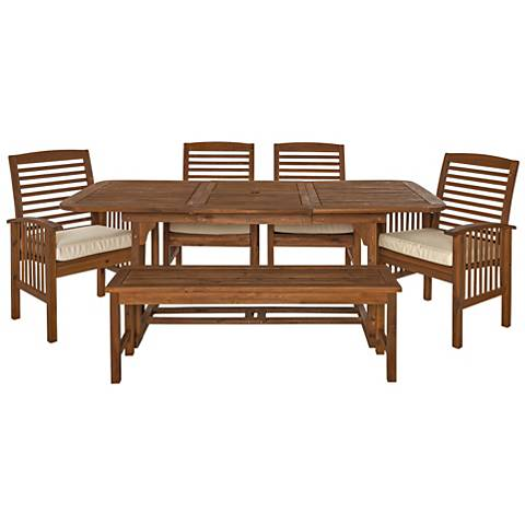 Blake Dark Brown 6-Piece Patio Dining Set with Cushions