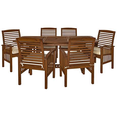 Preston Dark Brown 7-Piece Patio Dining Set with Cushions