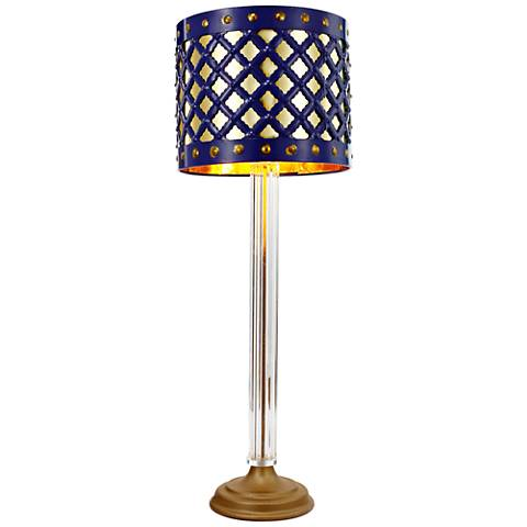 Beverley Gold and Navy Blue Column Table Lamp