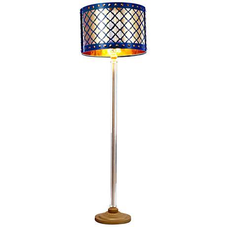Beverley Gold and Navy Blue Column Floor Lamp