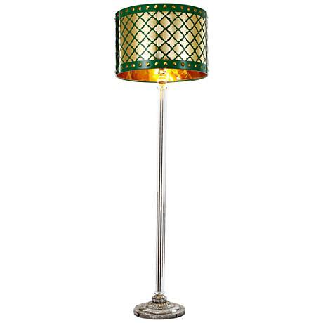 Beverley Gold and Green Column Floor Lamp