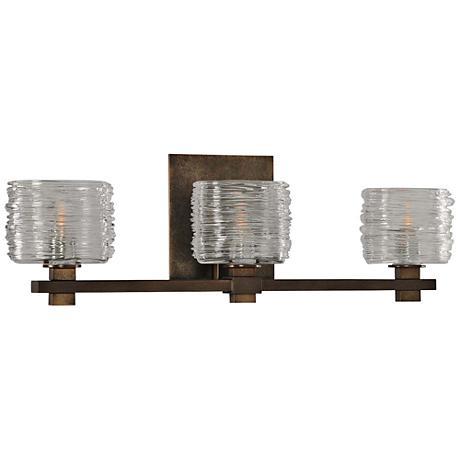 "Clearwater 21"" Wide Vintage Bronze 3-Light Bath Light"