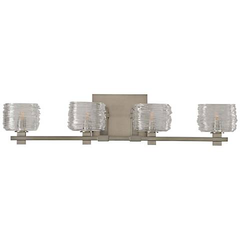 "Clearwater 29"" Wide Satin Nickel 4-Light Bath Light"
