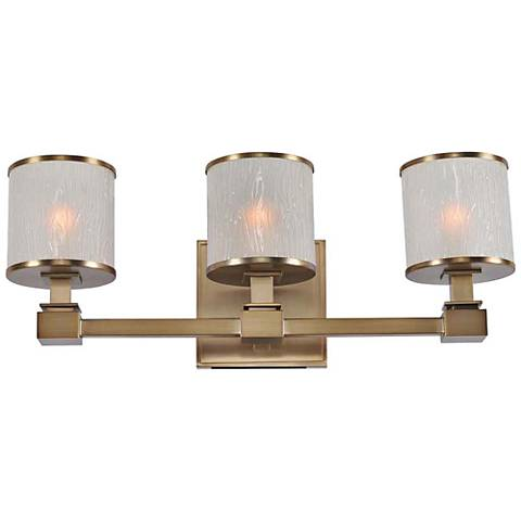 Destin 19 wide brushed bronze 3 light bath light 1w272 lamps plus for Brushed bronze bathroom lighting
