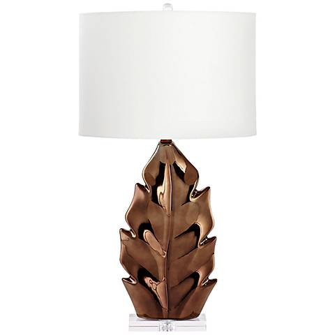 Palmetto Bronze Glaze Ceramic Table Lamp