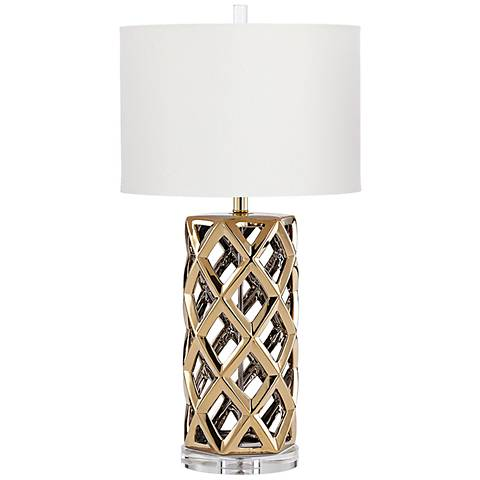 Baba Satin Brass Ceramic Table Lamp