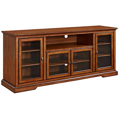 Cass Highboy Style Rustic Brown Wood 4-Door TV Stand