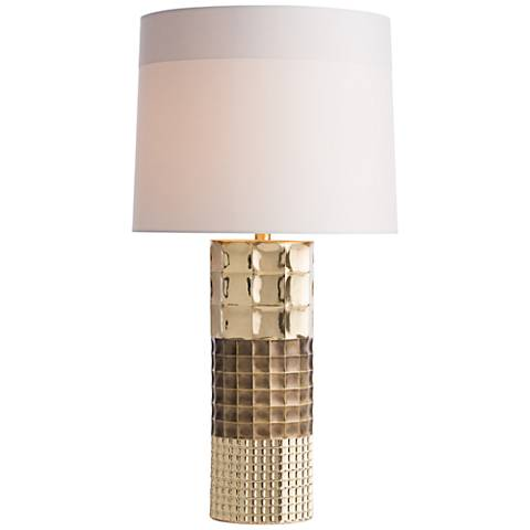 Arteriors Home Sylan Two-Tone Brass Grid Column Table Lamp
