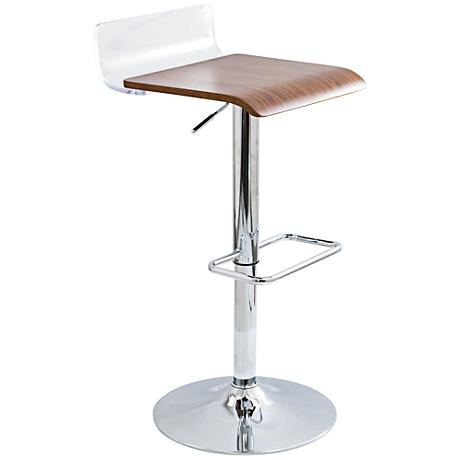 Swerve Clear Acrylic and Walnut Wood Adjustable Barstool