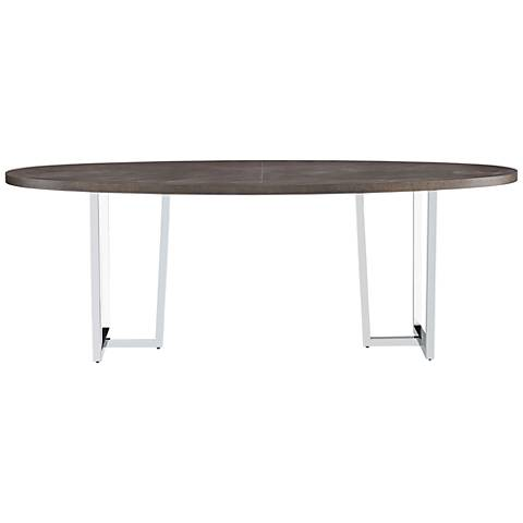 Brighton Brownstone Wood and Chrome Oval Dining Table