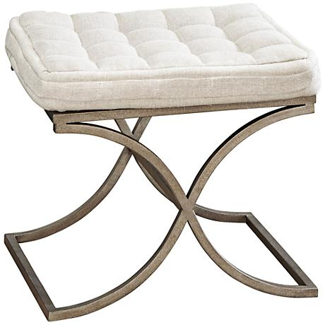 Moderne Muse Aged Nickel and Fabric Bed End Bench