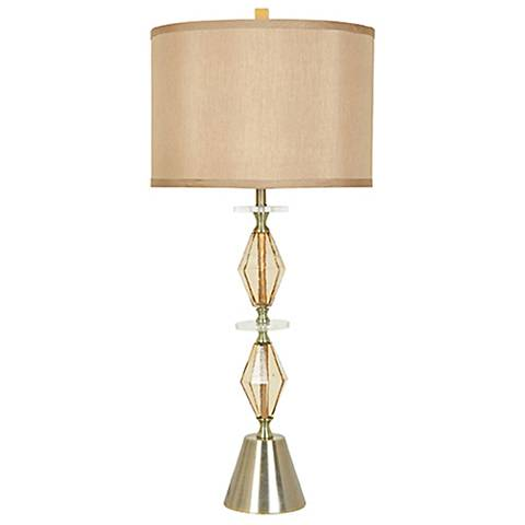 Crestview Alexandra Brass and Champagne Glass Table Lamp