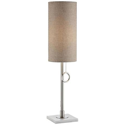 Crestview Arte Brushed Nickel and White Marble Table Lamp